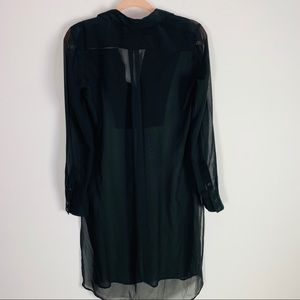 BCBGMaxAzria Tops - BCBG Black Button Down Collared Long Tunic Shirt